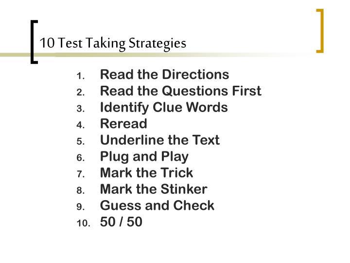 10 Test Taking Strategies