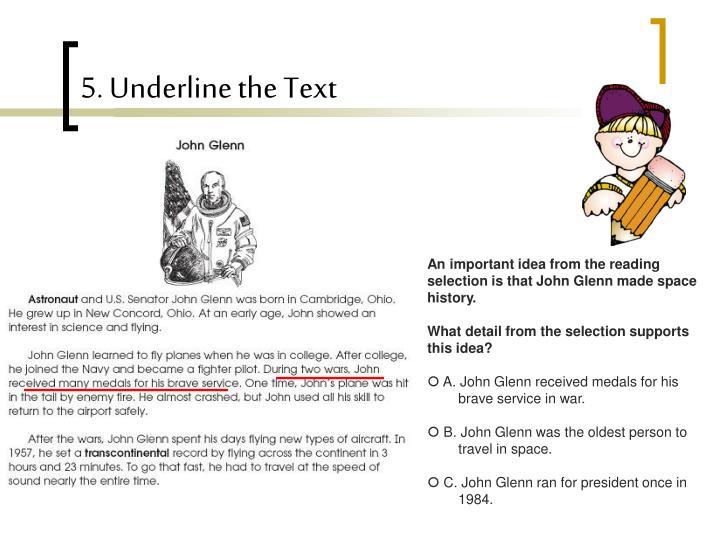 5. Underline the Text