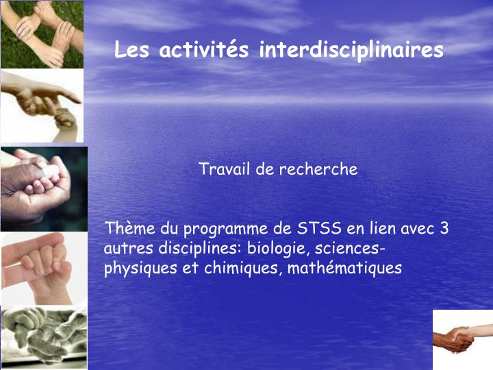 Les activités interdisciplinaires