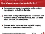 new ways of accessing audio content