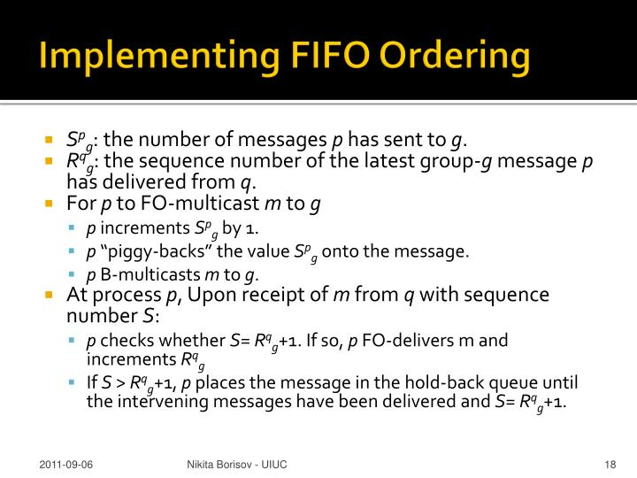 Implementing FIFO Ordering