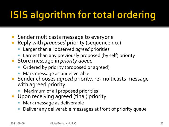ISIS algorithm for total ordering
