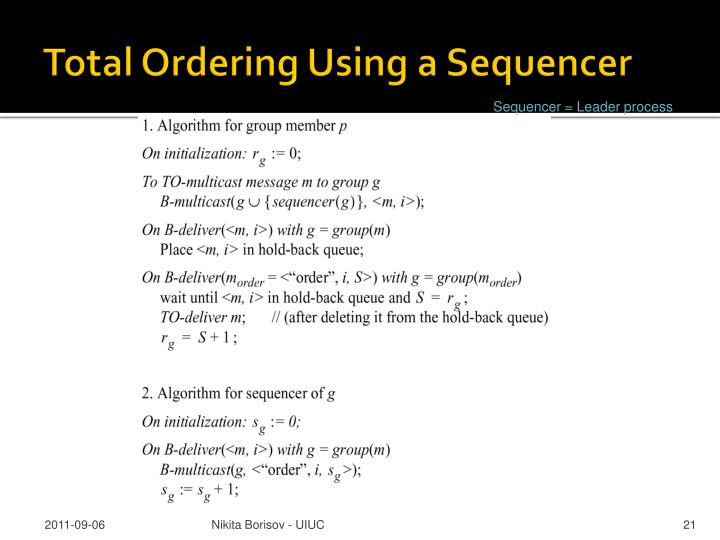 Total Ordering Using a Sequencer