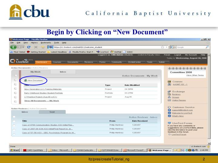 "Begin by Clicking on ""New Document"""