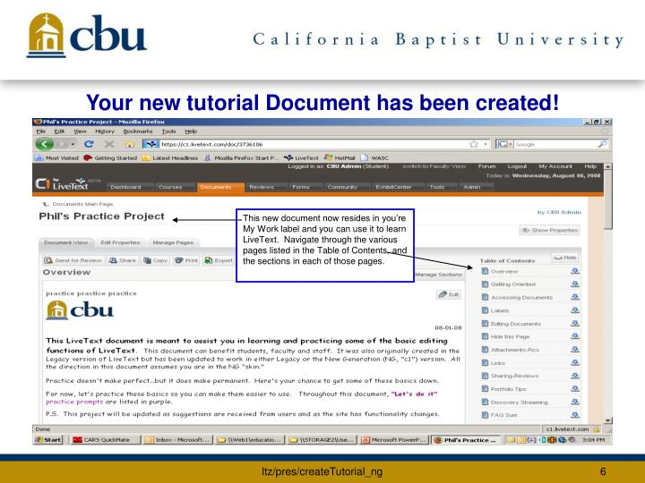 Your new tutorial Document has been created!