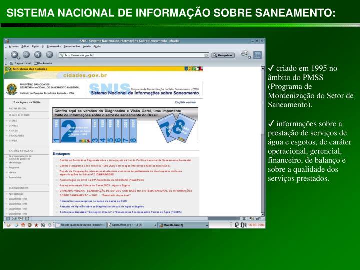 SISTEMA NACIONAL DE INFORMAÇÃO SOBRE SANEAMENTO: