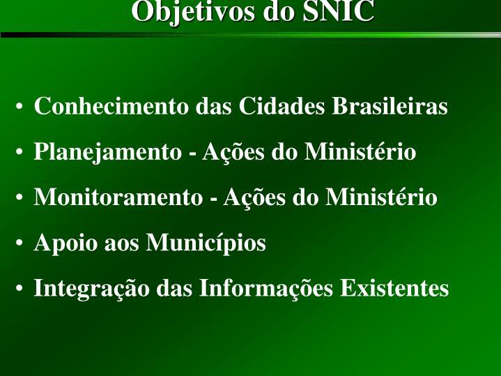 Objetivos do SNIC