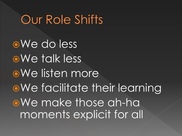 Our Role Shifts