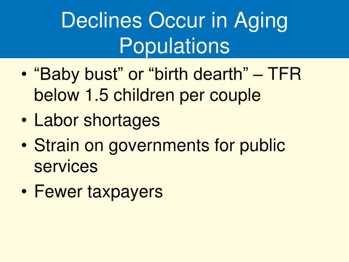 Declines Occur in Aging Populations