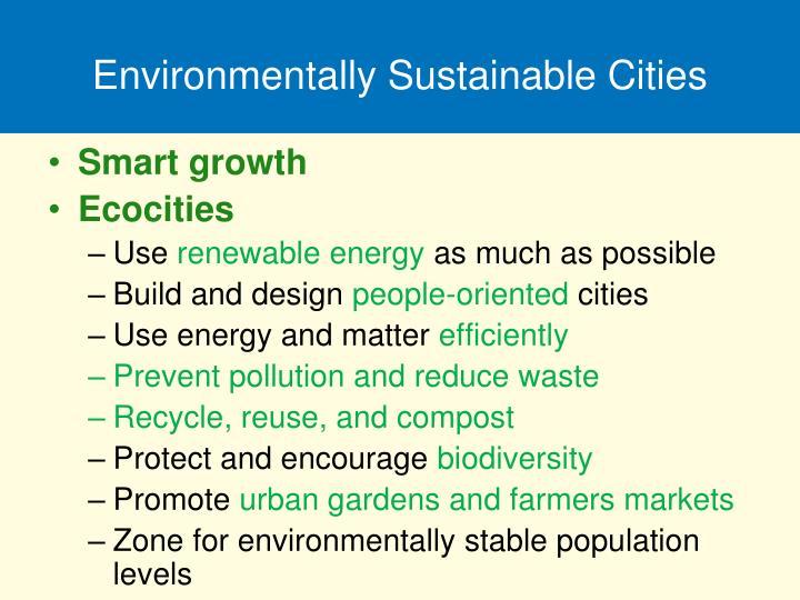 Environmentally Sustainable Cities