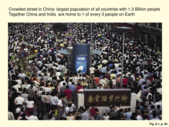 Crowded street in China: largest population of all countries with 1.3 Billion people