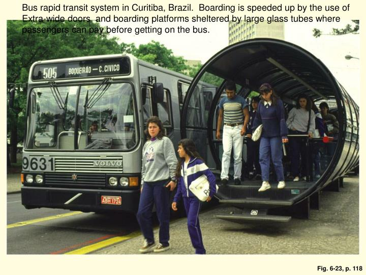 Bus rapid transit system in Curitiba, Brazil.  Boarding is speeded up by the use of