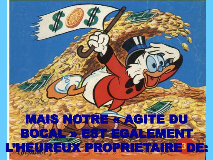 MAIS NOTRE «AGITE DU BOCAL» EST EGALEMENT L'HEUREUX PROPRIETAIRE DE: