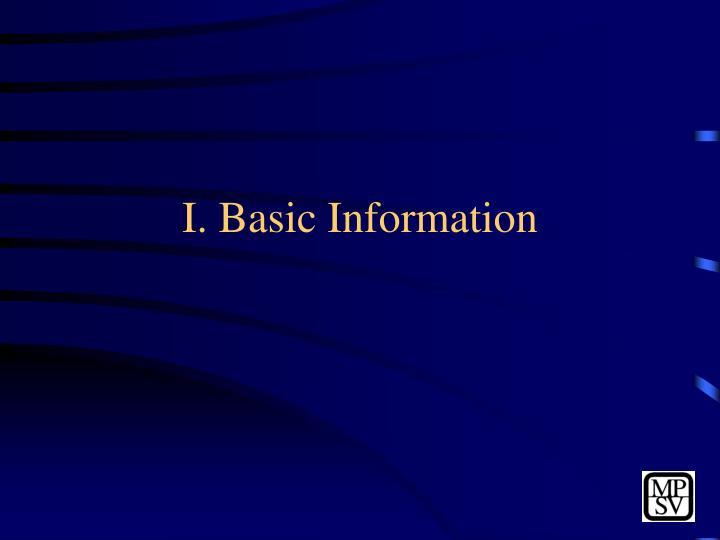 I. Basic Information
