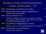 the history of the czech pension reform country of non reform 3