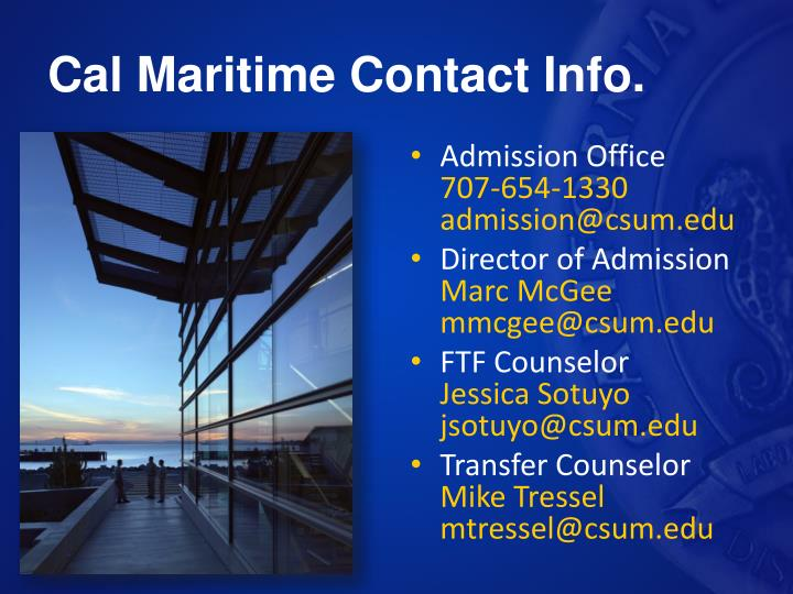 Cal Maritime Contact Info.