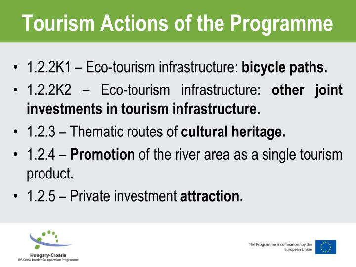 Tourism Actions of the Programme