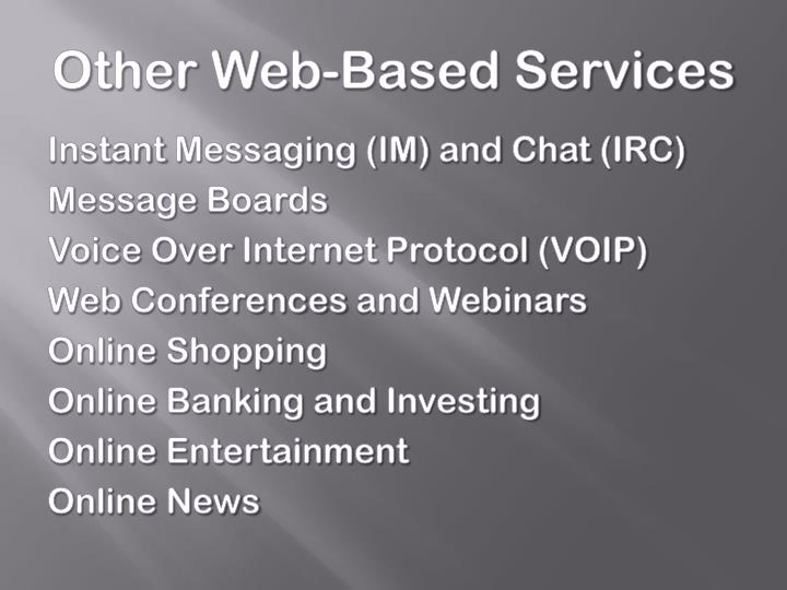 Other Web-Based Services