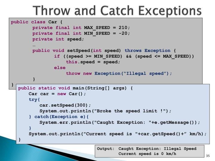 Throw and Catch Exceptions