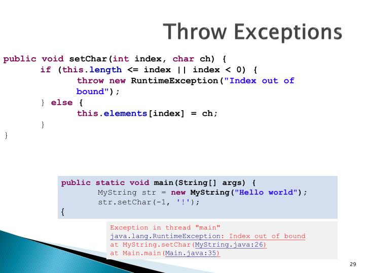 Throw Exceptions