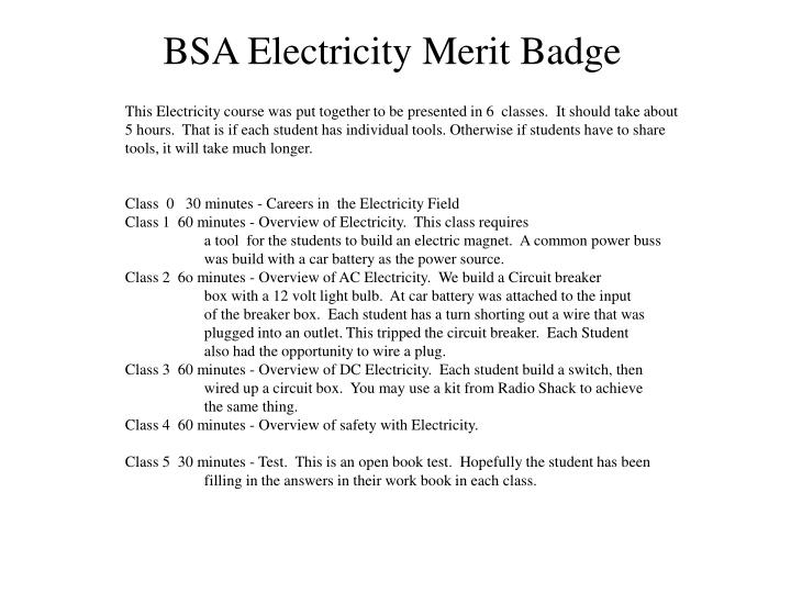 This Electricity course was put together to be presented in 6  classes.  It should take about
