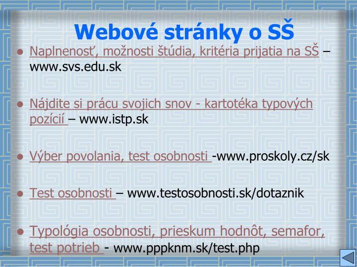 Webové stránky o SŠ