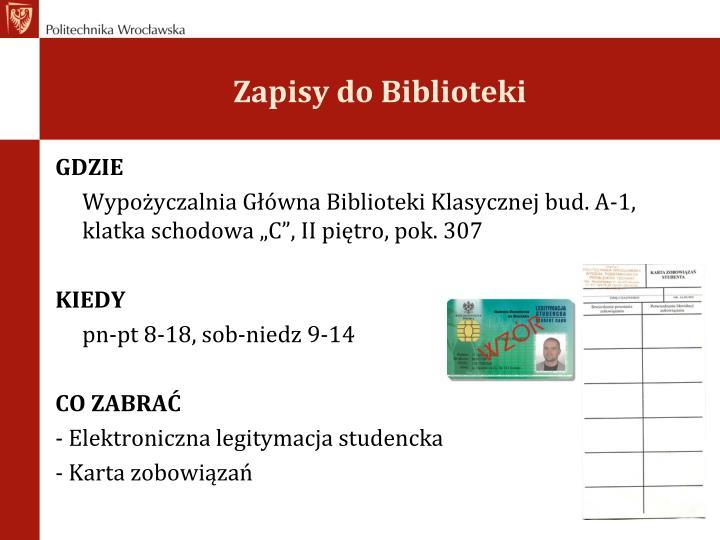 Zapisy do Biblioteki
