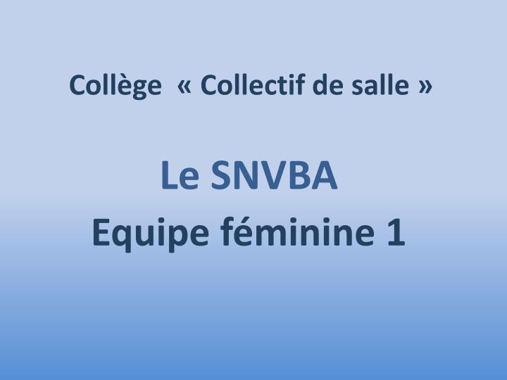 Collège  «Collectif de salle»