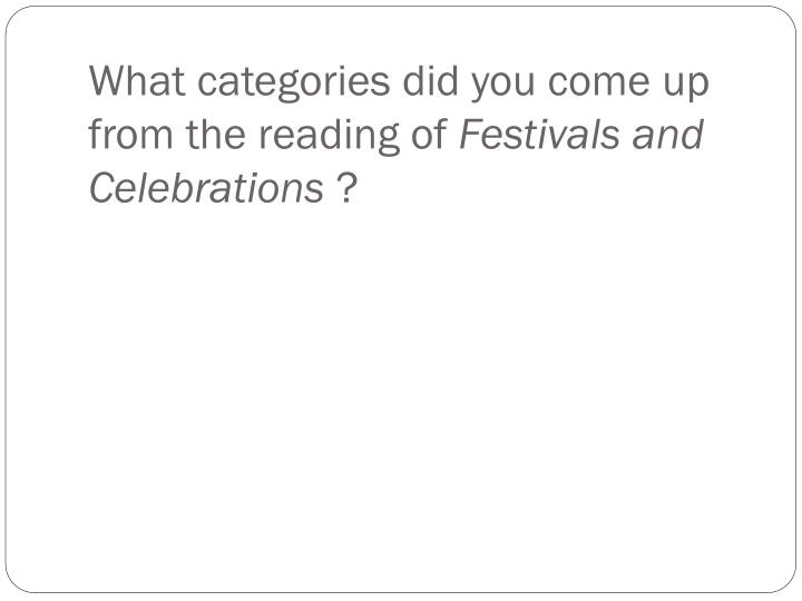 What categories did you come up from the reading of