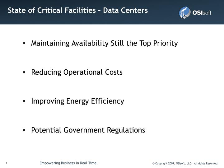 State of Critical Facilities – Data Centers