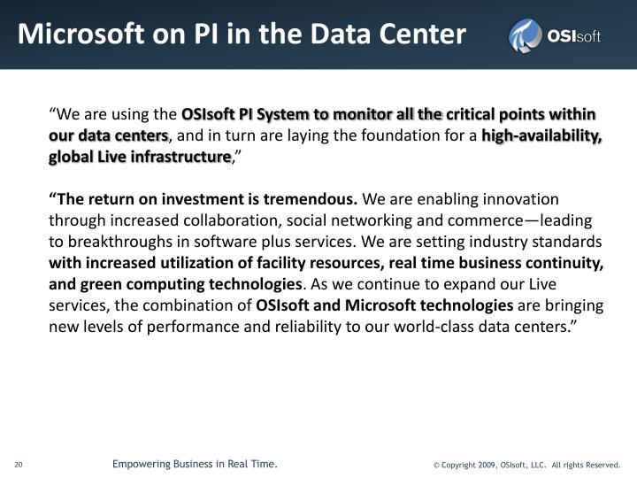 Microsoft on PI in the Data Center
