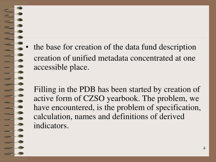 the base for creation of the data fund description