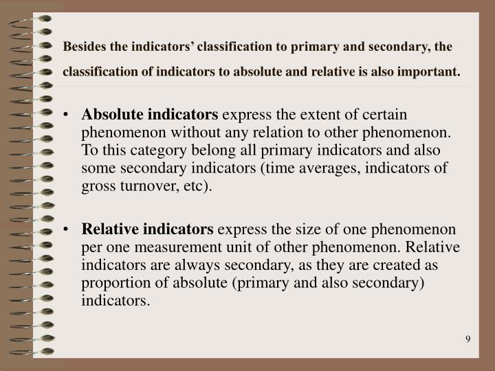 Besides the indicators' classification to primary and secondary, the classification of indicators to absolute and relative is also important.