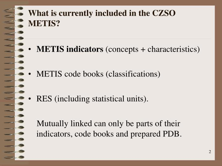 What is currently included in the CZSO METIS?