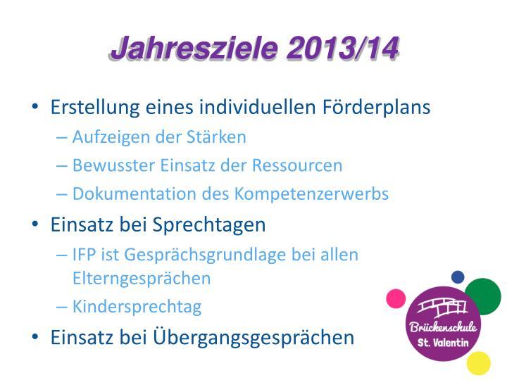 Jahresziele 2013/14