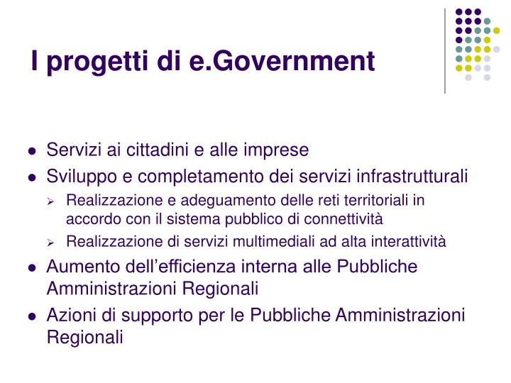 I progetti di e.Government