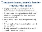 transportation accommodations for students with autism