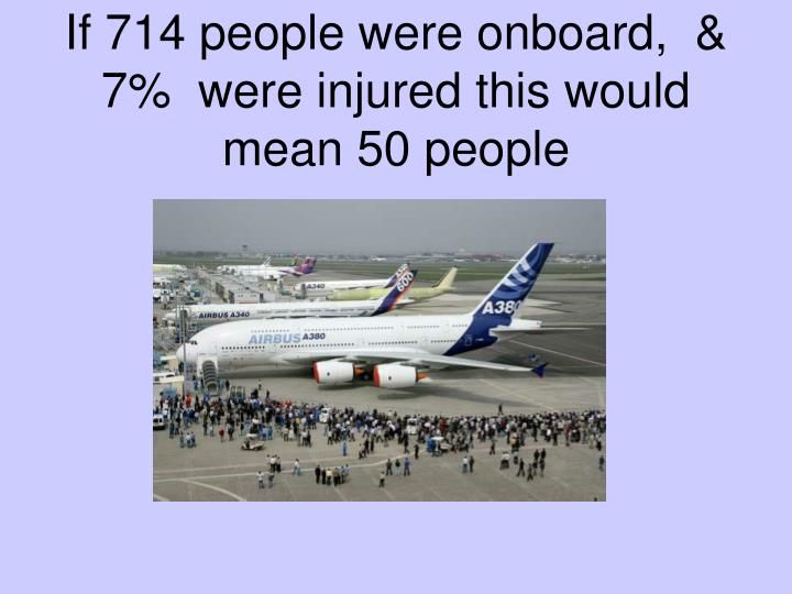 If 714 people were onboard,  & 7%  were injured this would mean 50 people