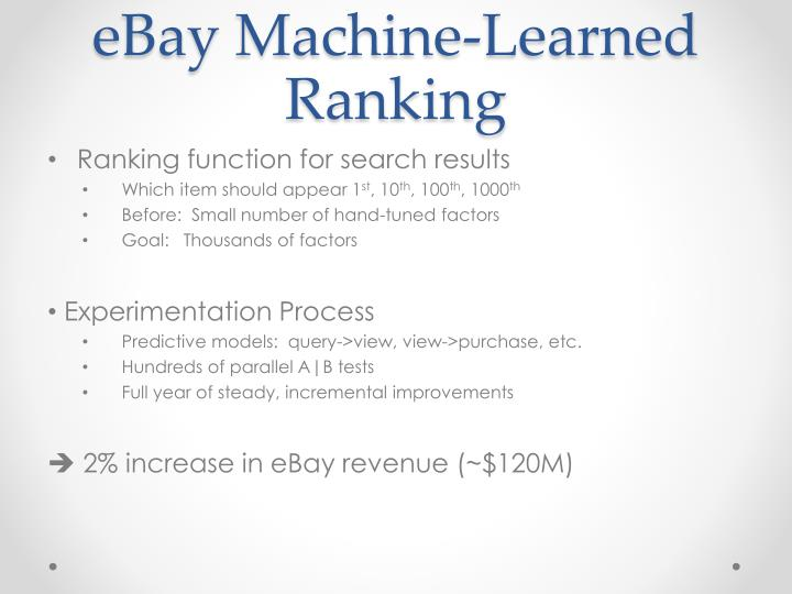 eBay Machine-Learned Ranking