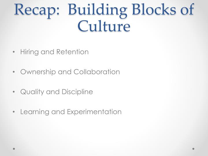 Recap:  Building Blocks of Culture