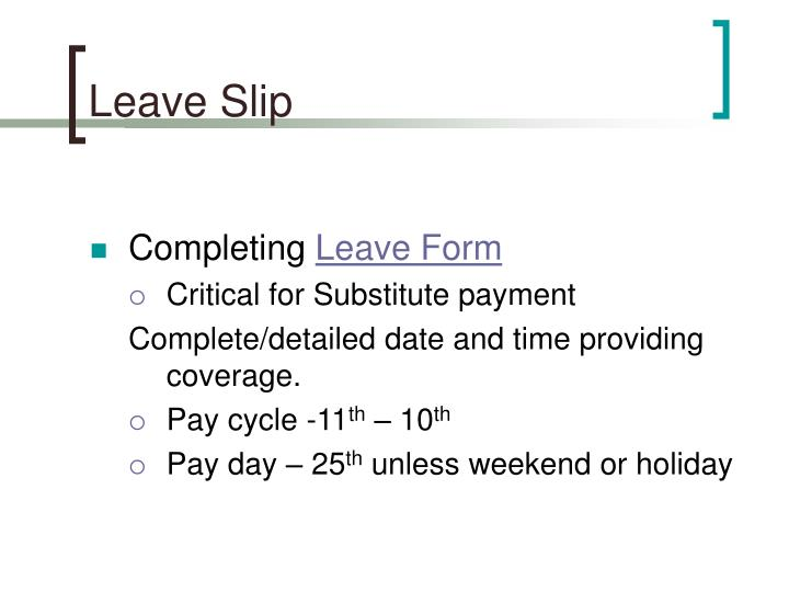 Leave Slip