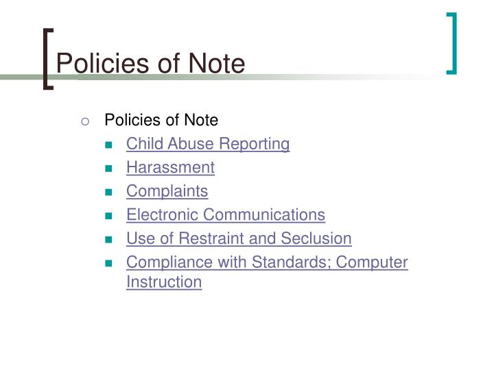 Policies of Note