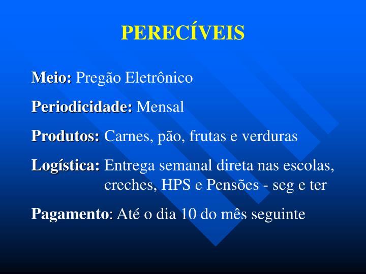 PERECÍVEIS