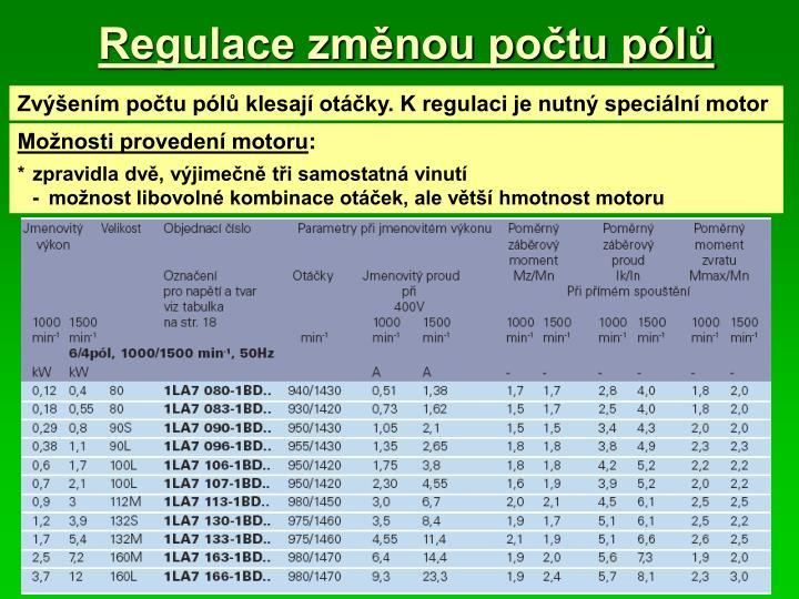 Regulace změnou počtu pólů