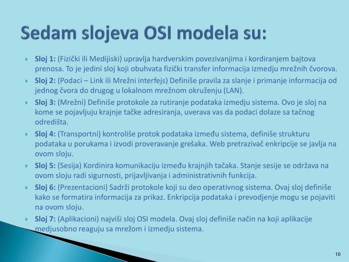 Sedam slojeva OSI modela su: