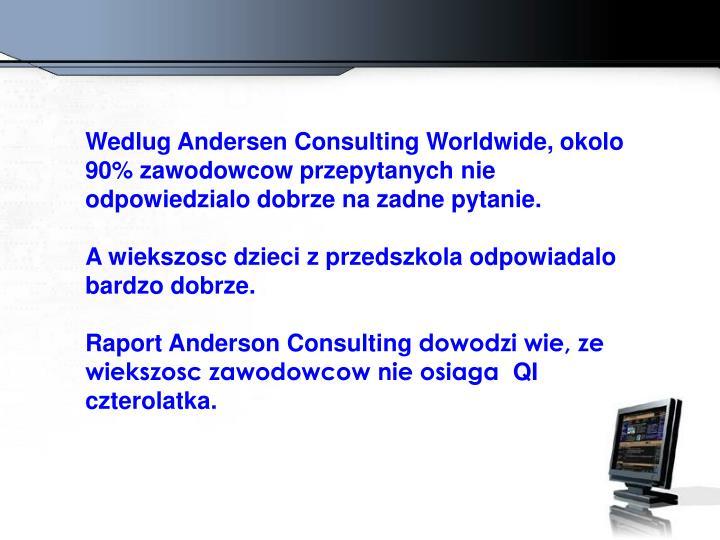 Wedlug Andersen Consulting Worldwide, okolo 90% zawodowcow przepytanych nie odpowiedzialo dobrze na zadne pytanie.