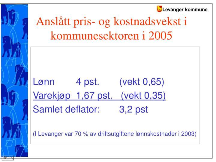 Anslått pris- og kostnadsvekst i kommunesektoren i 2005