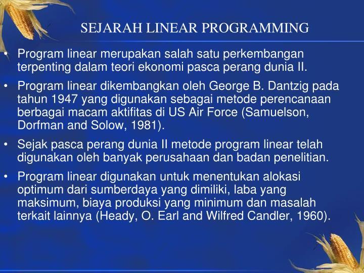 SEJARAH LINEAR PROGRAMMING