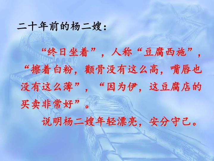 二十年前的杨二嫂: