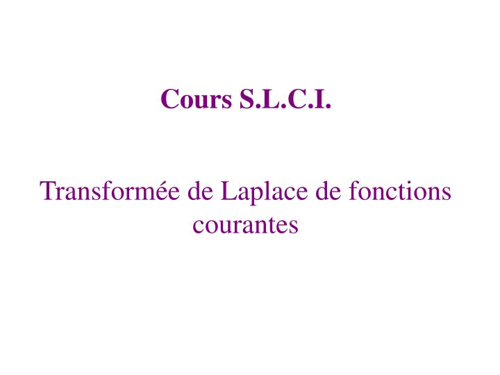 Transformée de Laplace de fonctions courantes